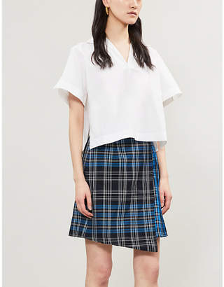 Claudie Pierlot Selen checked cotton wrap-over skirt