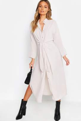 boohoo Tie Waist Collarless Midi Dress