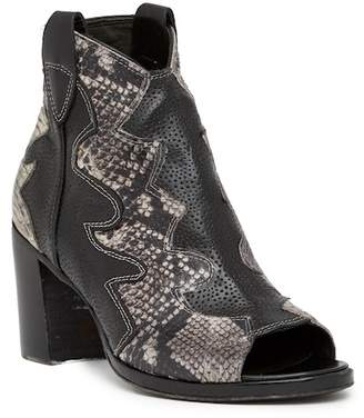 Jo Ghost Peep Toe Python Printed Leather Texan Bootie