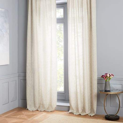 Semi-Sheer Belgian Flax Linen Dash Weave Curtain