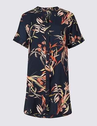Marks and Spencer Floral Print Satin Short Sleeve Blouse