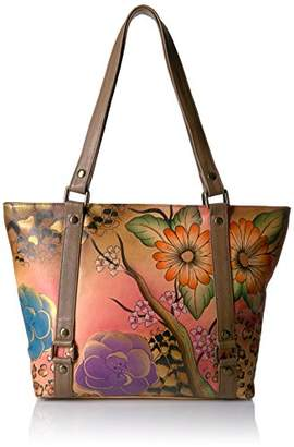 Anuschka Anna by Women's Genuine Leather Classic Large Tote | Hand Painted Original Artwork | Zip-Top Handbag |Floral Safari Brown