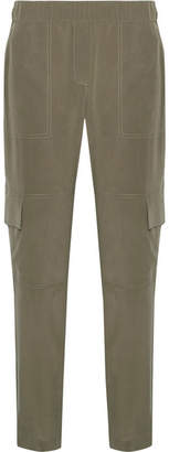 Theory Hamtana Silk Crepe De Chine Tapered Pants - Army green