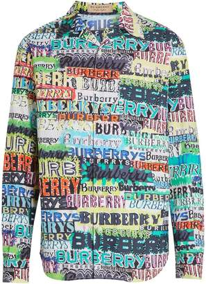 Burberry Graffiti Logo Print Cotton Shirt