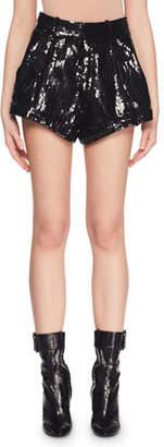 Saint Laurent Allover Sequin Flared-Leg Cuffed Shorts