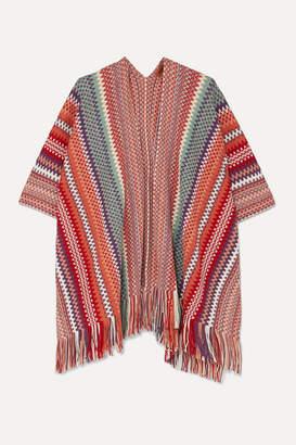 Missoni Fringed Crochet-knit Wrap - Red