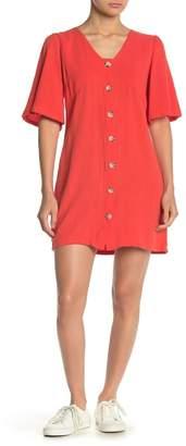 GOOD LUCK GEM Button Front Linen Blend Dress