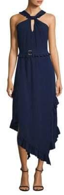 Derek Lam Asymmetrical Silk Halter Dress