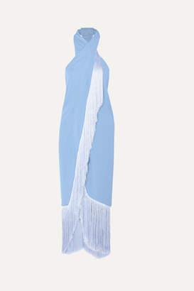 Cult Gaia Bianca Fringed Halterneck Crepe Midi Dress - Light blue
