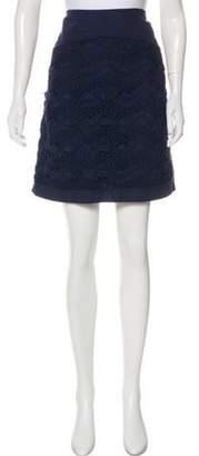 Philosophy di Alberta Ferretti Crocheted Knee-Length Skirt Navy Crocheted Knee-Length Skirt