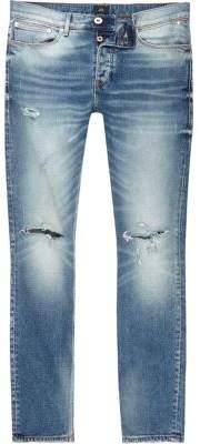 River Island Mid blue Sid ripped knee skinny jeans