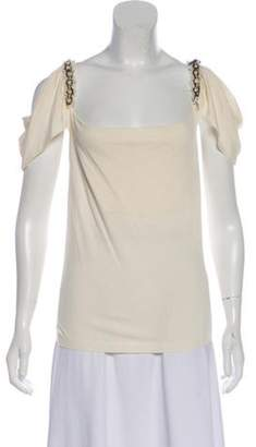 Valentino Embellished Cowl Neck Top White Embellished Cowl Neck Top