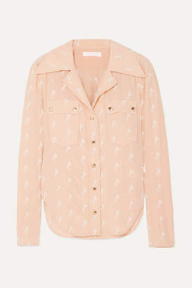 Chloé Embroidered Silk Crepe De Chine Blouse - Pink