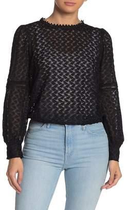 NSR Ada Long Sleeve Lace Knit Blouse