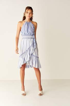 Suboo Wrap Midi Skirt - Blue / White Stripe