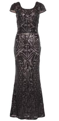 Quiz Black And Nude Sequin Mesh Maxi Dress