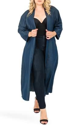 Standards & Practices Kumiko Tie Waist Long Cotton Blend Jacket