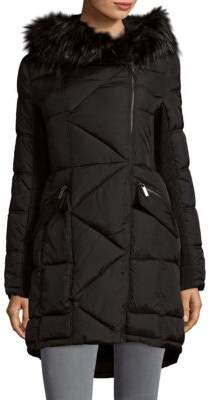 French Connection Hooded Faux Fur Trimmed Puffer Coat