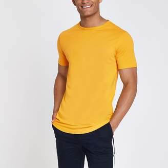 River Island Mens Yellow curved hem longline T-shirt