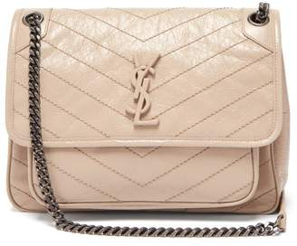 Saint Laurent Niki Medium Leather Shoulder Bag - Womens - Beige