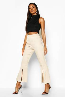 boohoo Split Front Flared Trousers