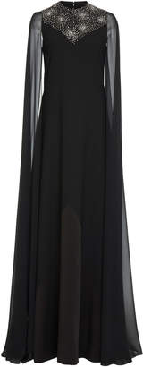 Givenchy Cape-Effect Embellished Wool-Chiffon Gown