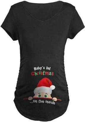 SUPEYA Maternity Women Christmas Party Shirt Pregnant Santa Claus Print Plus Size Tee Size M