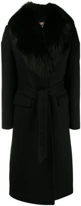 Roberto Cavalli fur-collar midi coat