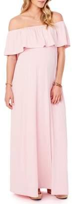 Ingrid & Isabel R) Off the Shoulder Maternity Maxi Dress