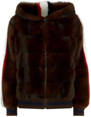 Simonetta Ravizza Hooded Mink Bomber Jacket