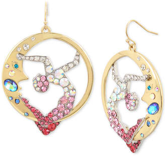 Betsey Johnson Gold-Tone Crystal Moon & Showgirl Round Drop Earrings