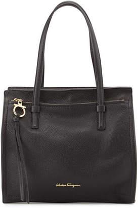 Salvatore Ferragamo Amy Medium Leather Tote Bag, Nero $1,250 thestylecure.com