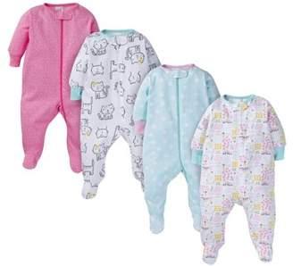 N. ONESIES Brand Assorted Zip Front Sleep Play Sleepers, 4pk (Baby Girl)