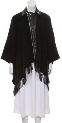 The Kooples Leather-Trimmed Wool Poncho