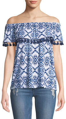 Neiman Marcus Off-The-Shoulder Geometric-Print Tasseled Blouse