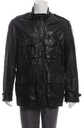 Burberry Nova Check-Lined Leather Utility Jacket