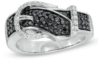Zales 1/2 CT. T.W. Enhanced Black and White Diamond Belt Buckle Ring in 10K White Gold