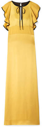 ALEXACHUNG Ruffled Hammered-satin Maxi Dress - Mustard