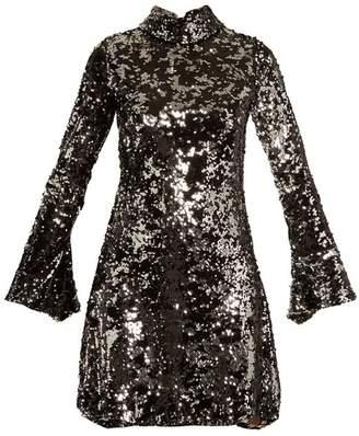 HALPERN Sequin-embellished high-neck flared-sleeve dress