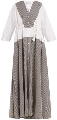 Palmer Harding PALMER/HARDING Contrast-panel seersucker dress