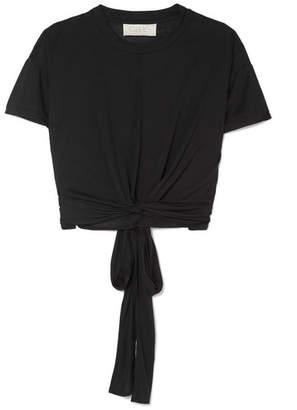 calé - Georgette Cropped Modal-blend Jersey Top - Black