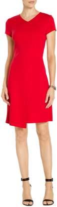 St. John Milano Knit V-Neck Short Sleeve Dress