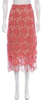 Alice + Olivia Guipure Lace Midi Skirt