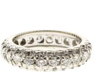 Vintage Art Deco 14K White Gold with 1.85ct Diamond Eternity Band Ring Size 7