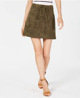 Sage The Label Faux-Suede Lace-Up Skirt