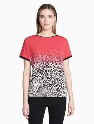 Calvin Klein ombre printed piped short sleeve top