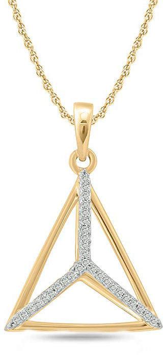 Zales 1/20 CT. T.W. Diamond Geometric Triangle Pendant in 10K Gold