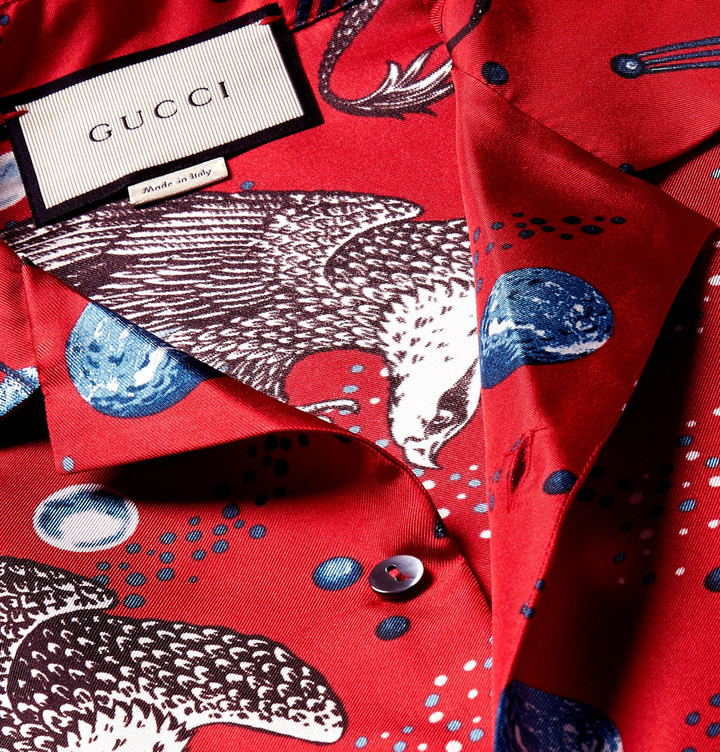 Gucci Space Animals Camp-Collar Printed Silk-Twill Shirt 6