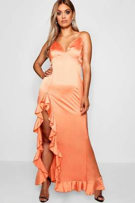 boohoo Plus High Split Ruffle Satin Maxi Dress