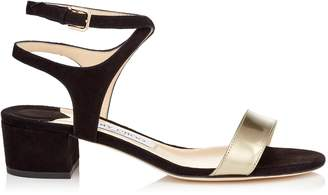 Jimmy Choo MARINE 35 Black Suede and Dore Liquid Mirror Leather Sandals